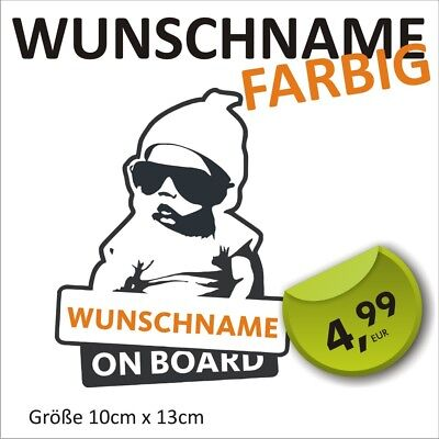 Aufkleber Wunschname Baby on Board Kind an Bord Baby Name Auto Hangover