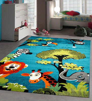 Blue Nursery Rug Soft Baby Bedroom Carpet Children Play Room Mat Jungle Animals