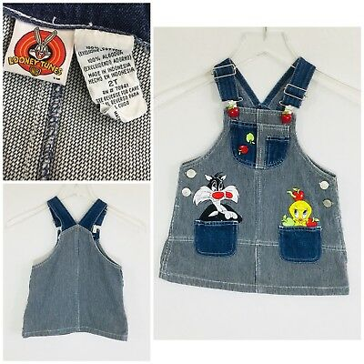 VTG Looney Tunes Skirt Overall Size 2T Excellent Condition Striped Apples