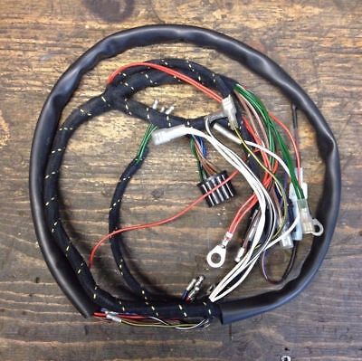 1965 Triumph 650 500 350 Twin Cloth Cover Wiring Harness, New, Lucas 54936415