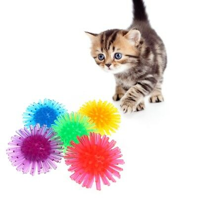 5 Pcs/Lot Cat Toys Colorful Ball Soft TPR Thorn Pet Kitten Chew Supplies Playing