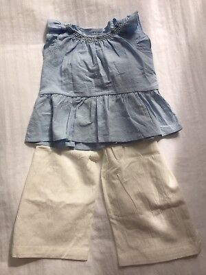 Girls frill detail summer top and trousers age 3 yrs blue and ivory. Linen look