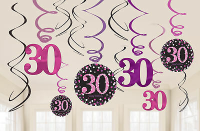 New Pink Sparkling Celebration 30th Swirl Decorations /12
