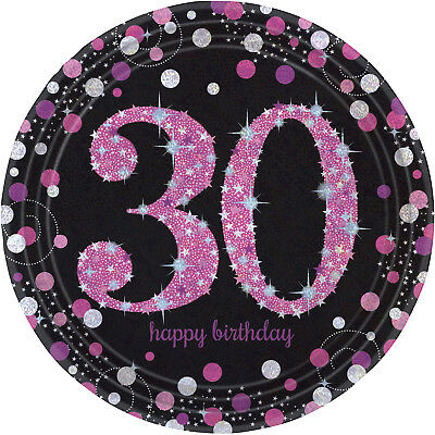New Pink Sparkling Celebration 30th Birthday Prismatic Paper Plates 23cm /8