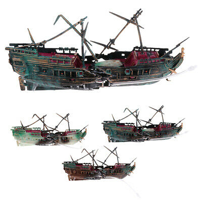 Plastic Sunken Navy War Boat Ship Wreck Aquarium Ornament Fish Tank Cave Decor 8 08 Picclick Uk
