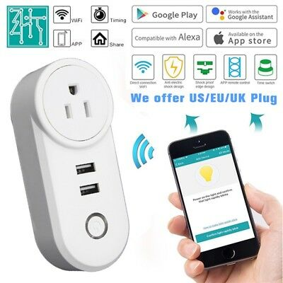 Wifi Smart Plug Dual USB Smart WiFi Socket Outlet Power Switch Works with Alexa