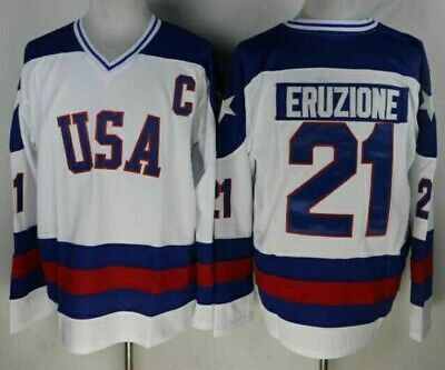 1980 Miracle On Ice Team USA Mike Eruzione 21 Hockey Jersey-White