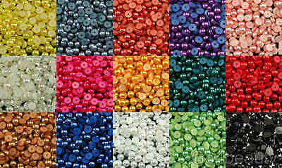 7mm Half Pearl Beads Flat Back 300pcs - 15 Colors - Aussie Warehouse