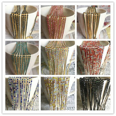 Wholesale 1-Row SS6 Cystal Rhinestone Trim Close Cup Chain Claw Jewelry Crafts