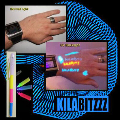 Blacklight uv Visible, Invisible ink temporary tattoo body pen 3 in 1 WITH TORCH