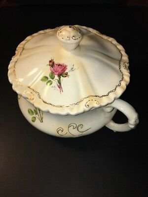 Antique Ceramic Chamber Pot with Lid, Beautiful Floral Pattern, Free Shipping!!!