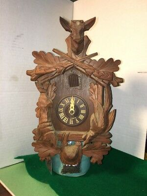 Old 1-Day 2 Wt. Cuckoo Clock for parts or repairs, Free Shipping!