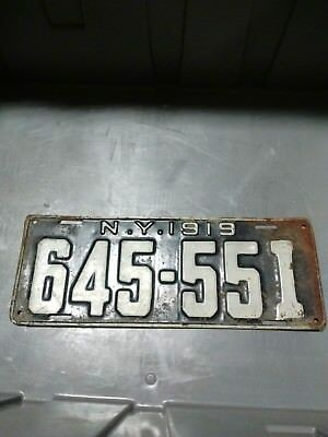 Vintage 1919 New York State License Plate