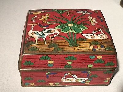 Wonderful Group of 3 Cloisonne Accessories with Storks and Ducks