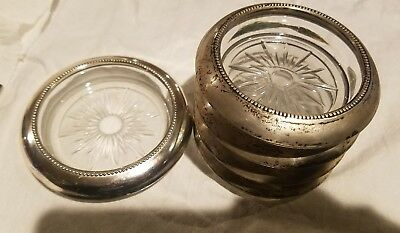 4 Frank Whiting Sterling Silver and Glass Coasters with Bottle Coaster