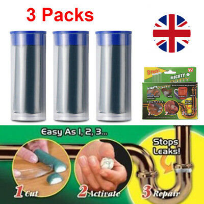 3 Pack Mighty Putty Magic Fill Seal Glue Tool For Ceramic Metal Wood With Gloves