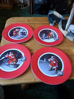Vintage Coca-Cola Christmas Plates Set of 4 , 9 inches.