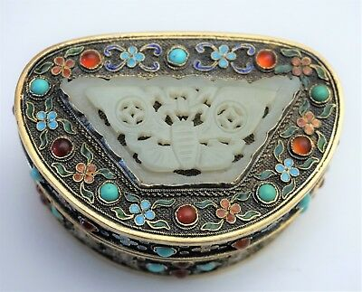 Chinese White Jade Butterfly Plaque in Filigree Gilt Silver Jeweled Enamel Box