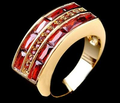 Fine Fashion 10kt gold filled set Ruby unisex ring size 9 ! Gift Love & Jewelry