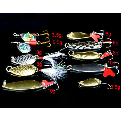 Lot 10pcs Metal Fishing Lures Bass Spoon Crank Bait Saltwater Metal Tackle Hooks