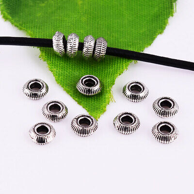 Tibetan Silver Stripe Ring Spacer Beads Round Metal Jewelry Findings 5x2mm