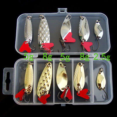 10PCS  Metal Fishing Lures Bass Spoon Crank Bait Saltwater Tackle Hooks Lot