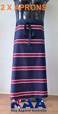 2 X APRONS Butchers Apron Waist Navy/Red 85x80cm, Smoking, American BBQ