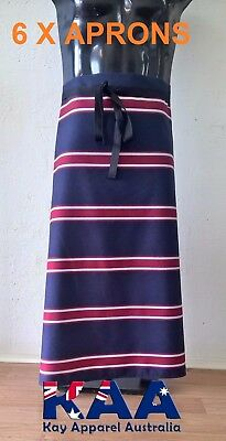 6 X APRONS Butchers Apron Waist Navy/Red 85x80cm *MADE IN KINGAROY QLD*