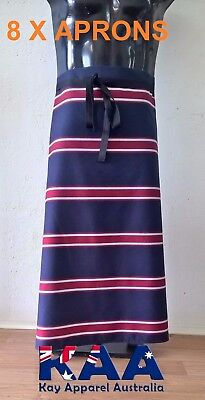 8 X APRONS Butchers Apron Waist Navy/Red 85x80cm *MADE IN KINGAROY QLD*