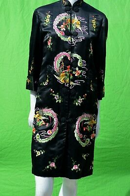 Vintage Golden Bee Chinese Black Colorful peacock Embroidered Kimono Robe small