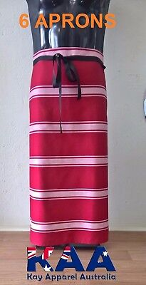 6 X Butchers Apron Waist/Lap Apron RED/WHITE 85x80cm, Smoking, American BBQ