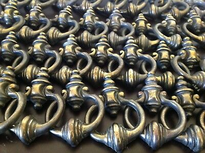 """Vtg Lot of 36 Metal Cabinet Drawer Pulls Handles Fixed Bail 4"""" Ornate Brass Tone"""