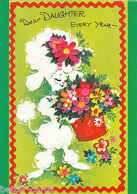 Happy Birthday Daughter Vintage 1970s Greeting Card Cute Poodle Puppy