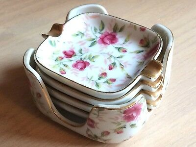 Vintage Lefton China Handpainted Pink Rose Ashtray Set Gold Color Trim