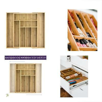 Totally Bamboo Expandable Drawer Organizer, 8 Compartments, 2 With Adjustable