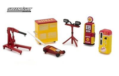Greenlight Muscle 6Pc Set Shop Tools Shell Oil 1/64 By Greenlight 13158