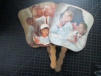 3 Vintage Black Americana Paper Church Fans 1950's/60's? Religious Advertising