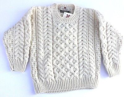 Children's Ivory 100% Irish Merino Wool Aran Sweater By Carraig Donn Kid's