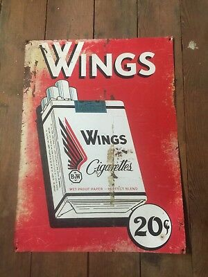 VINTAGE ORIGINAL WINGS CIGARETTES SIGN Phillip Morris Chesterfield Camels Kool