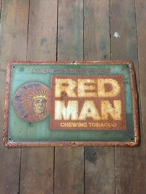 VINTAGE ORIGINAL RED MAN CHEWING TOBACCO SIGN Beech Nut Mail Pouch Polar Rustic