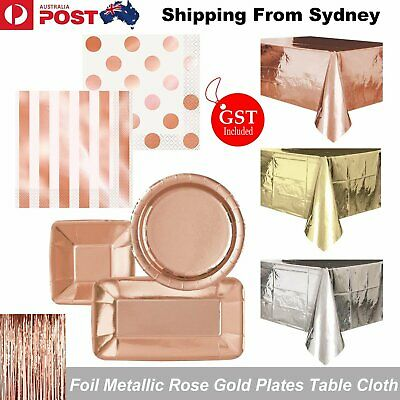 Christmas Foil Metallic Stamped Rose Gold Paper Plates Table Cloth Napkins Tissu