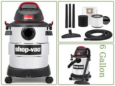 Shop-Vac 6 Gal Peak Hp Wet/Dry Easy Vacuum Cleaner Stainless Steel Powerful Tank