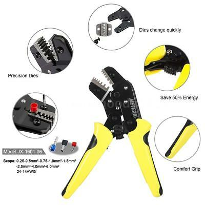 Wire Crimper Ratchet Terminal Crimping Plier 24-10AWG 0.25-6.0mm2 Hand Tool Z5E3
