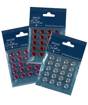 House of Cake Diamond Edible Gems (20 pack) stud approx 10mm cake Decoration