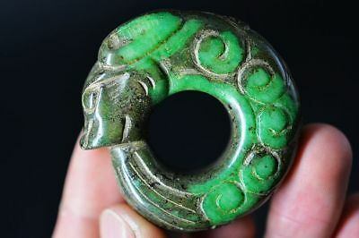 Delicate Chinese old green jade Carved *dragon* Fingerstall/Thumb Ring    E18