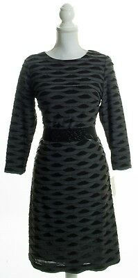 New ECI NEW YORK Gray & Black Scallop Long Sleeve Sheath Dress Size 8