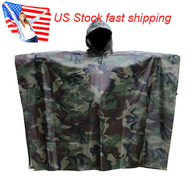 US Army Military Outdoor Hiking Woodland Wet Weather Camouflage Poncho Raincoat