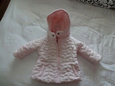Baby Girl's Pale Pink Hooded Winter Coat. Size 3-6 Months.