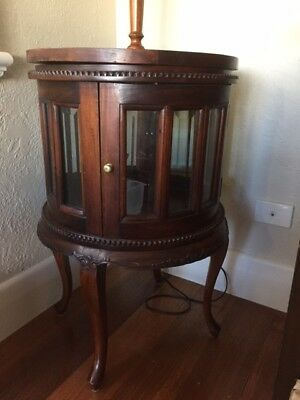 Antique Curio Cabinet with removable serving tray