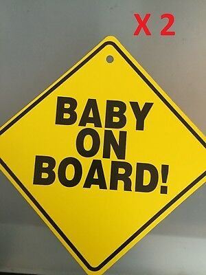 2x Baby On Board Car Window Suction Cup Yellow REFLECTIVE Warning Sign 6X6/""